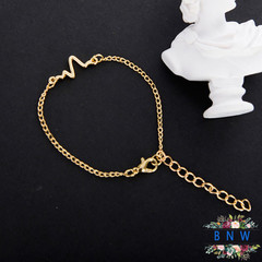 【BNW】 Fashion jewellry_Simple Personality Design ECG Lightning Heartbeat Frequency10044 gold 3.1g