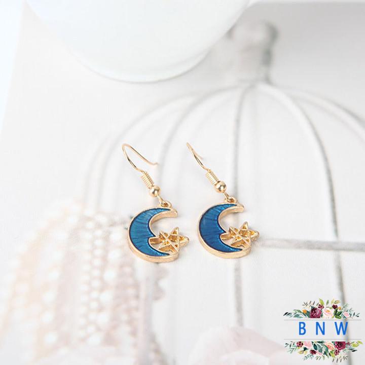 【BNW】Moon Star Earrings_Starry Sky Earrings Dreamy Girl Heart Moon Star Earrings10056 blue 3.8g