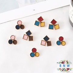 【BNW】Geometric square stitching contrast color earrings personality wild tide short hair 10065 Red  blue  yellow 6g