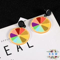 【BNW】Colorful Fruit Stud Earrings_Cartoon Color Lemon Cute Fruit Stud Earrings10067 color 5.6g