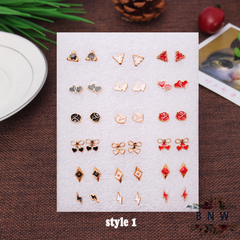 【BNW】Fashion earrings __36 earrings, a variety of styles, jewelry set10100 style 1 one size