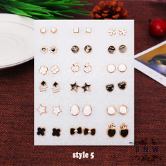 【BNW】Fashion earrings __36 earrings, a variety of styles, jewelry set10100 style 5 one size