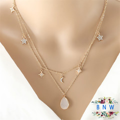 【BNW】Fashion Necklace_Simple and delicate Furong stone double-layer gemstone necklace10105 Gold + white and pink 8.5g