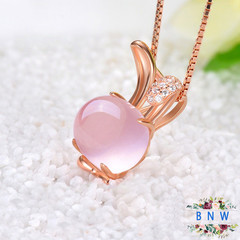 【BNW】Fashion Necklace _925 Silver Rose Gold Natural Furong Stone Powder Crystal Rabbit10106 gold + pink 2.0g