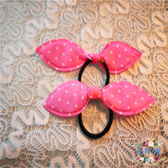 【BNW】Sweet fashion cute rabbit ears hair ring hair accessories10110 Pink 1.1g