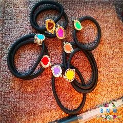【BNW】Fashion high elastic drop oil hair rope hair ring hair accessories10113 Color + Black 1.6