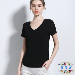 2019 new European large size thread seamless short-sleeved T-shirt Bottoming Shirt F20001 Black M
