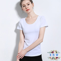 【BNW】New summer new cotton women's T-shirt solid color bottoming shirt F20010 White M