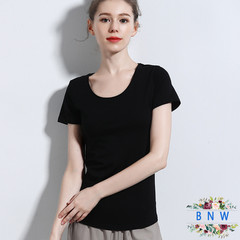 【BNW】New summer new cotton women's T-shirt solid color bottoming shirt F20010 Black L
