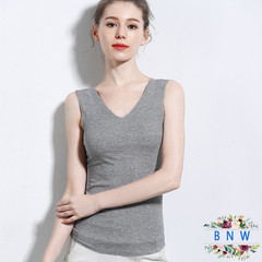 【BNW】New women's double neck vest camisole bottoming shirt F20026 gray XL