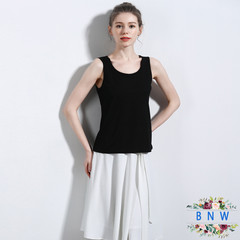 【BNW】Summer women's linen cotton sleeveless round neck camisole F20028 Black V neckline M