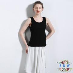 【BNW】Summer women's linen cotton sleeveless round neck camisole F20028 Black V neckline M