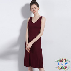 【BNW】New women's long sleeveless inner skirt F20029 m red wine