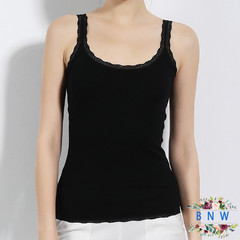 【BNW】Ladies lace sling cotton vest F20030 black m
