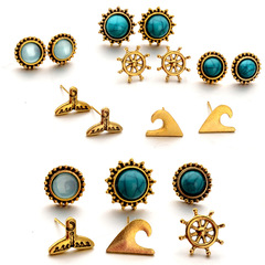 【BNW】Navy Series Fishtail Rudder Blue Gemstone Stud Earring Set S10103 gold 18g