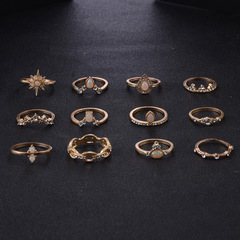 【BNW】Six-pointed star joint ring crown drop water rhinestone inlaid twelve-piece suit S10107 gold 18g