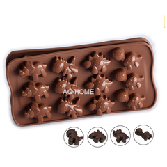 AG Home Mini Dinosaur Chocolate Molds Silicone Mold Fondant Mould Jello Fan Maker Cake Baking Tray as picture 2pc set 21*11*1.5cm