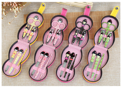 Japanese Doll Pattern Stainless Nail Clippers Professional Grooming Kit Nail Tools Manicure Set White