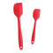 Silicone Spatula Baking Utensils Kitchen Rubber Scraper Cooking Tools with Hygienic Solid Coating Red 27.5*5.5cm+21.3*4.0cm