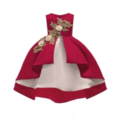 Lucky Life Girl Wedding Flower Girls Dress High-end Princess Party Sleeveless Prom Dress red 100