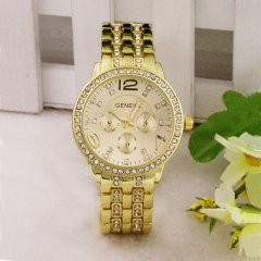 Wrist watch women 1pcs Drill fashion steel strip wristwatch ladies fashion Leisure wristwatches Golden one size