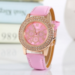 Geneva Wrist Watch for women Double 1pcs row drill wrist watches women ladies Belt  wristwatches 7 one size
