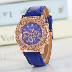 Geneva Wrist Watch for women Double 1pcs row drill wrist watches women ladies Belt  wristwatches 5 one size
