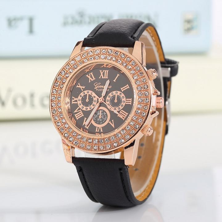 Geneva Wrist Watch for women Double 1pcs row drill wrist watches women ladies Belt  wristwatches 2 one size