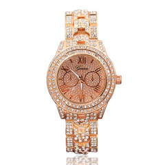 Geneva wrist watches Diamond quartz Women's watch of steel strip wrist watch women ladies 1 one size