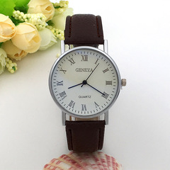 Leather Watch Band Strap Quartz Wrist Watch Men Business Quartz Wristwatches For Men Brown one size
