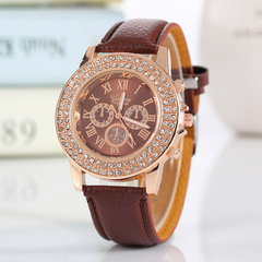 Hot Leather Watch Band Strap Quartz Wrist Watch Women Ladies Point Drill Wristwatches For Ladies Brown one size