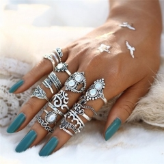 Hot 16 PCS/set Knuckle Synthetic Opal Finger Ring Women Leaf Flower one color one size