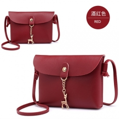 New Fashion 1PC Summer Women PU Leather Shoulder Bags Casual Messenger Phone Handbags Red one size