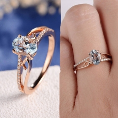 Exquisite Women 14K Rose Gold Plated Ring Oval Jewelry Anniversary Proposal Promise Gift one color 10