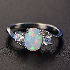 Silver Plated Fire Synthetic Opal Birthstone Ring Proposal Wedding Ring style 1 10