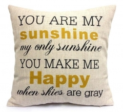 You Are My Sunshine Cotton Linen Pillow Cover Beige one size