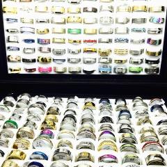 Wholesale  bulk 100pcs ring set men women unisex stainless steel 100PCS random