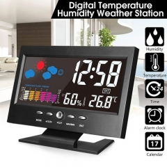 LED Digital Projection Alarm Clock Loud Snooze Calendar Weather Coloalarm clocks