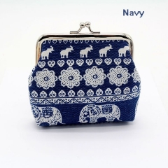 Ma'am Coin Purse Ethnic Style Canvas Printing Elephant Small Purse Navy no size