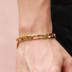 18k Gold Plated Bracelet for Men (20MM X 5MM ) gold one size