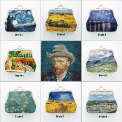 Female Oil Paiting Yellow Blue Van Gogh Wheat Field Starry Sky Printing Kiss Lock Mini Coin Purse Random Color no size