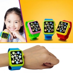 Children Kids Early Education Toy Wrist Watch 3D Touch Screen Music Smart Teaching Baby Blue 5pcs