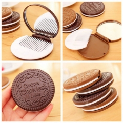 Mini Pocket Chocolate Cookie Biscuits Compact Mirror With Comb ~Cute Coffee one size