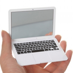 Cute MAKEUP Mini Pocket Laptop Style Clear Glass Women Cosmetic Beauty Mirror Fashion Notebook White one size