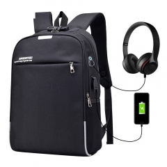 Luminous Anti Theft Password Locks Men Bag USB Charging Backpack Business Travel Backpack 2 Color black 18x 12x 6inch