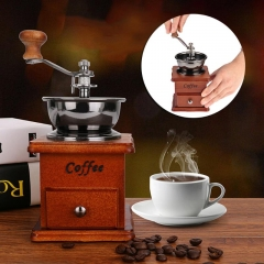 Wooden Handmade Coffee Grinder Retro Wood Design Coffee Mill Maker Stainless Steel Retro As picture one size