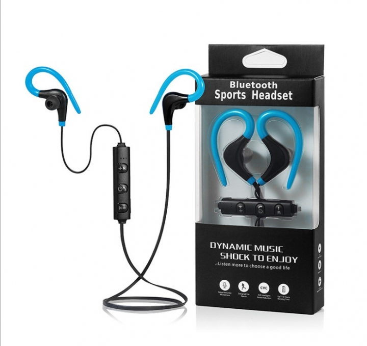 3e5dec0c40c Big horn hanging neck sports Bluetooth headset wireless mini ears in-ear  earphones blue