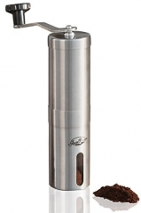 Manual Coffee Grinder, Conical Burr Mill Brushed Stainless Steel sliver one size