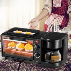 Three in one coffee maker electric oven Home breakfast machine toaster grill pan bread toaster as picture one size