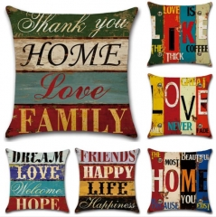 Hot Sale Cushion Cover For Home Decoration Vintage Rumors Mediterranean Hand Drawn Letters A one size